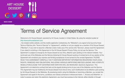 Screenshot of Terms Page arthousedessert.com - Art House Dessert - captured Oct. 4, 2018