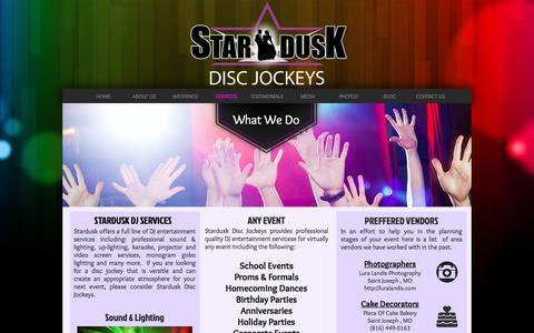Screenshot of Services Page stardusk.com - DJ Service for St. Joseph MO & Kansas City KC MO area - captured Dec. 2, 2016