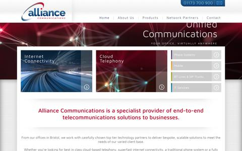 Screenshot of Home Page alliancecoms.com - VOIP telephone systems, business telephone systems Bristol - Alliance Communications - captured Oct. 8, 2017