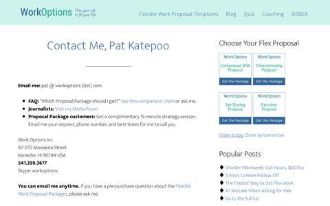Screenshot of Contact Page workoptions.com - Contact Pat Katepoo of WorkOptions.com - captured June 13, 2018