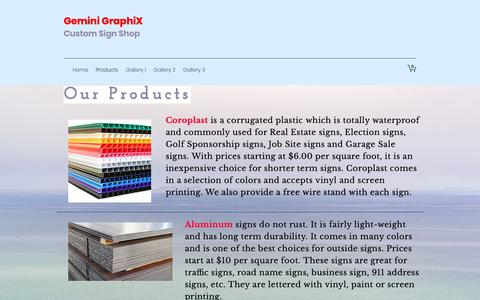 Screenshot of Products Page geminigraphx.com - Gemini GraphiX | Products - captured Sept. 27, 2018