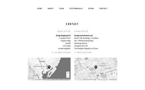 Screenshot of Contact Page graig.com - Contact — Graig - captured Sept. 30, 2018