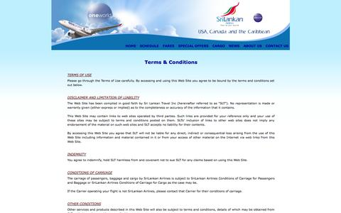 Screenshot of Terms Page srilankanusa.com - Terms & Conditions   SriLankan Airlines - USA - captured Oct. 7, 2014