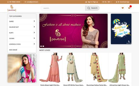 Screenshot of Home Page pavitraa.in - Women Fashion Online Shopping Site India   Pavitraa.in - captured Sept. 27, 2018