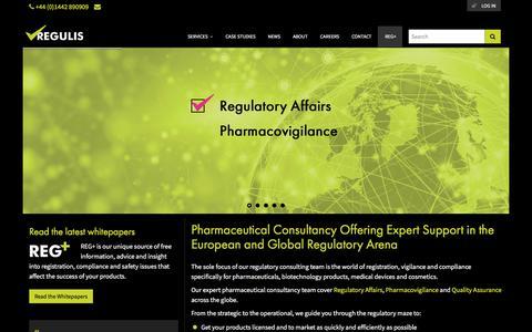 Screenshot of Home Page regulis.com - Pharmaceutical Consultancy & Regulatory Affairs | Regulis - captured Nov. 7, 2017