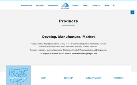 Screenshot of Products Page norgine.com - Products - Norgine - captured Oct. 19, 2018