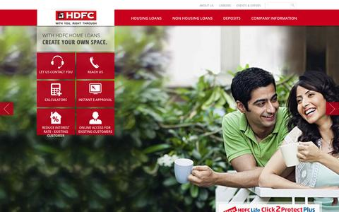 Screenshot of Home Page hdfc.com - Home Loans, Housing Loan, Finance Company, Home Loan Providers In India - captured Sept. 18, 2014