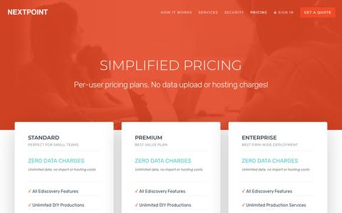Screenshot of Pricing Page nextpoint.com - Predictable Ediscovery Pricing + Unlimited Data = Nextpoint - captured Oct. 20, 2018