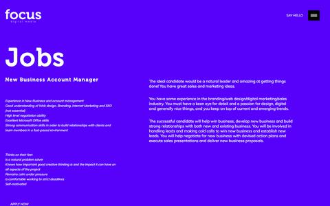 Screenshot of Jobs Page focus-dm.co.uk - Jobs - Branding design agency offering Website Design SEO and Digital Marketing - captured June 24, 2018