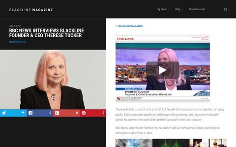 Screenshot of Press Page blackline.com - BBC News Interviews BlackLine Founder & CEO Therese Tucker | BlackLine Magazine - captured Nov. 29, 2019