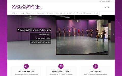Screenshot of Home Page danceandcompany.com - San Diego Dance Classes For All Ages - captured Oct. 5, 2014