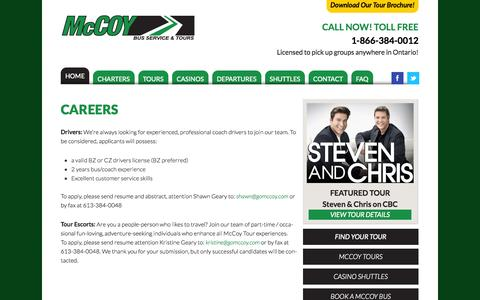 Screenshot of Jobs Page gomccoy.com - Careers | McCoy Bus Service & Tours - captured Oct. 27, 2014