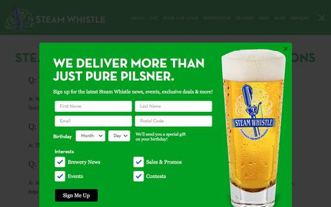 Screenshot of FAQ Page steamwhistle.ca - Frequently Asked Questions | Steam Whistle Brewing - captured Sept. 30, 2019