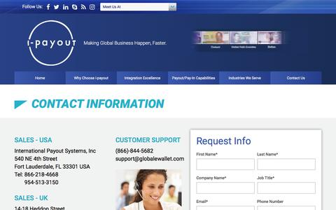 Screenshot of Contact Page i-payout.com - i-payout - captured Sept. 20, 2018