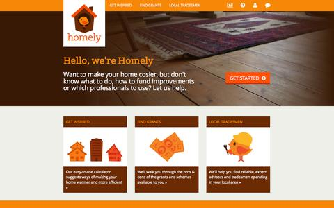 Screenshot of Home Page wearehomely.com - Stories about efficient cosy homes | Homely - captured Oct. 2, 2014