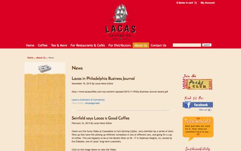 Screenshot of Press Page lacascoffee.com - News - Lacas Coffee Co. - captured July 5, 2017
