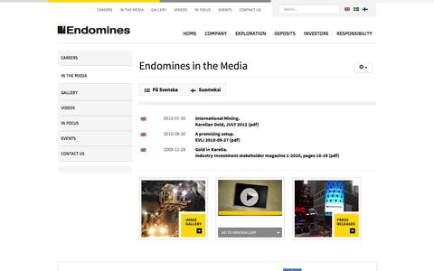 Screenshot of Press Page endomines.com - In the media - Endomines AB - captured Oct. 2, 2014