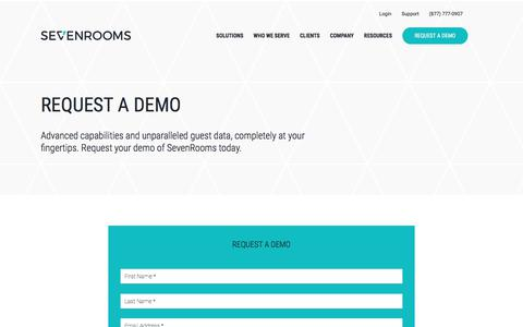 Screenshot of Contact Page sevenrooms.com - Request a Demo | SEVENROOMS - captured May 23, 2018