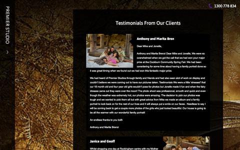 Screenshot of Testimonials Page premierstudio.com.au - Testimonials | Premier Studio - captured Sept. 30, 2014