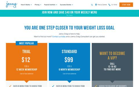 Screenshot of Pricing Page jennycraig.com.au - Weight loss memberships - Great offers available at Jenny Craig - captured Dec. 9, 2018
