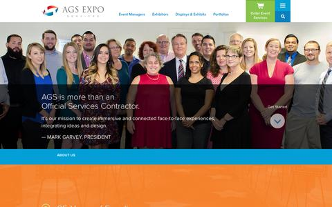 Screenshot of About Page ags-expo.com - About Us | AGS Exposition Services - captured Oct. 2, 2018