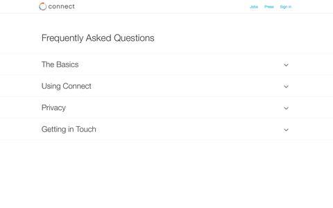Screenshot of FAQ Page connect.com - Connect | FAQ - captured Nov. 3, 2014