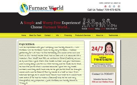 Screenshot of Testimonials Page furnaceworld.com - Customer Testimonials - captured Oct. 29, 2014