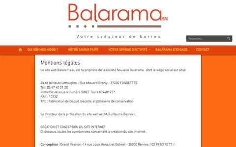 Screenshot of Terms Page balarama.eu - Balarama   Mentions légales - captured May 31, 2017