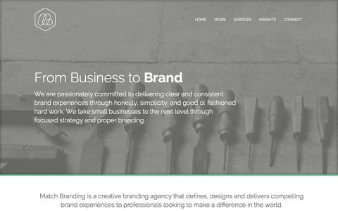 Screenshot of Home Page matchbranding.com - Match Branding: Brand Development, Strategy & Design - captured Sept. 30, 2014