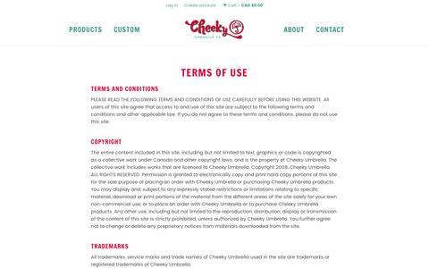 Screenshot of Terms Page cheekyumbrella.com - Terms of Use – Cheeky Umbrella - captured July 12, 2016
