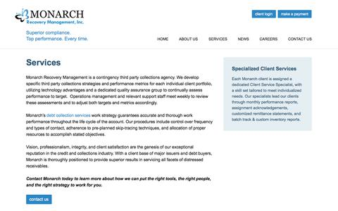 Screenshot of Services Page monarchrecoverymanagement.com - Third Party Collections Agency | third party collections - captured Oct. 7, 2014