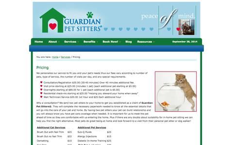 Screenshot of Pricing Page guardianpetsitters.com - Pricing - Guardian Pet Sitters - captured Sept. 30, 2014