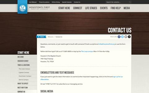Screenshot of Contact Page houstonsfirst.org - Contact Us   Houston's First Baptist Church - captured Sept. 22, 2014