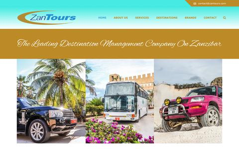 Screenshot of Home Page zantours.com - The Leading Destination Management Company on Zanzibar - ZanTours - captured June 10, 2017
