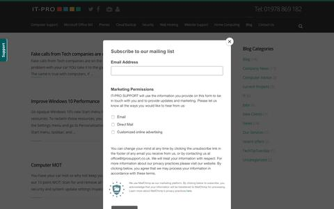 Screenshot of Blog itprosupport.co.uk - IT-Pro news | Blog | Videos | Guides | Jobs - captured Sept. 9, 2018