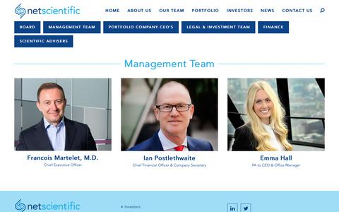 Screenshot of Team Page netscientific.net - Management Team - NetScientific - captured Nov. 1, 2017