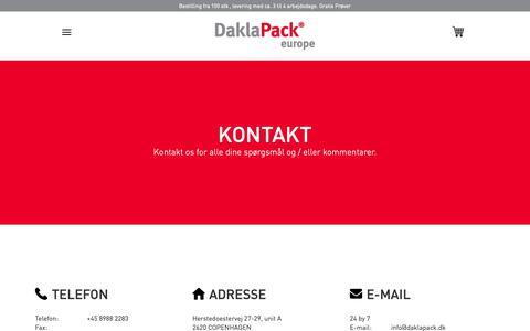 Screenshot of Contact Page daklapack.dk - Kontakt os. - captured Oct. 24, 2018