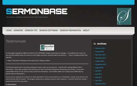 Screenshot of Testimonials Page sermonbase.com - Testimonials | SermonBase - captured Feb. 26, 2016