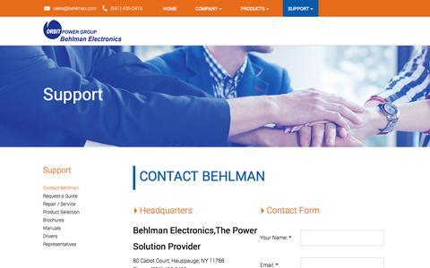 Screenshot of Contact Page behlman.com - Contact Behlman - captured Oct. 10, 2017