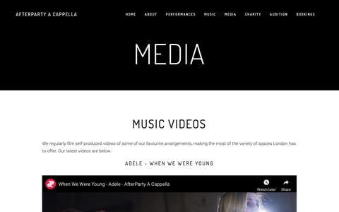 Screenshot of Press Page after-party.org.uk - Media — AfterParty A Cappella - captured Nov. 12, 2018