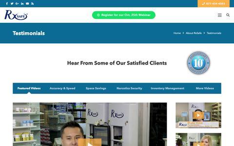 Screenshot of Testimonials Page rxsafe.com - Testimonials | RxSafe - captured Oct. 18, 2018
