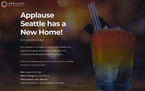 Screenshot of Landing Page applause.com - Party Time! - captured Sept. 26, 2018
