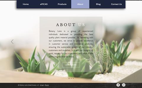 Screenshot of About Page botanylane.com - Botany Lane Greenhouse | Denver, CO | About - captured Oct. 6, 2018