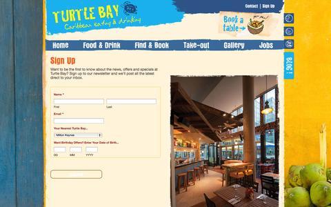 Screenshot of Signup Page turtlebay.co.uk - Sign Up «  Turtle Bay – Caribbean Restaurant - captured Sept. 19, 2014