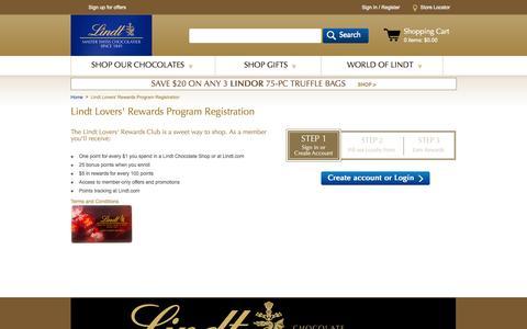 Screenshot of Signup Page lindtusa.com - Chocolate Lovers' Rewards Program | Lindt USA - captured Oct. 31, 2014