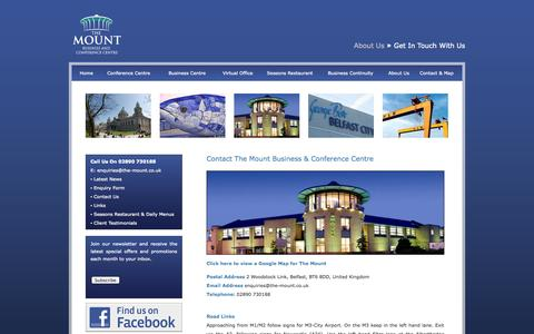Screenshot of Contact Page the-mount.co.uk - The Mount Belfast - Contact The Mount Business & Conference Centre - captured Oct. 9, 2014