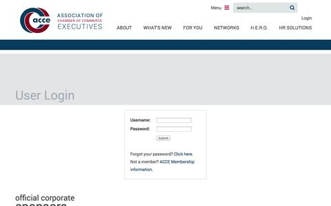 Screenshot of Login Page acce.org - Association of Chamber of Commerce Executives - Membership - captured Sept. 19, 2014