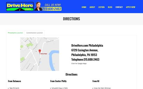 Screenshot of Maps & Directions Page drivehere.com - Directions | Getting a Car with Bad Credit Philadelphia, Better than a Buy Here Pay Here - captured Nov. 24, 2016