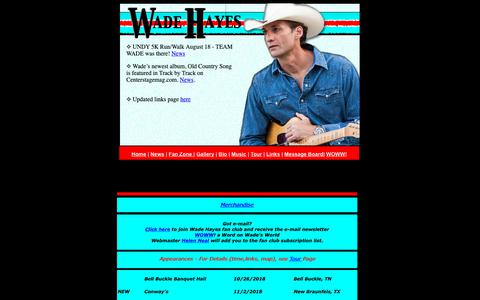 Screenshot of Home Page wadehayes-woww.com - Wade Hayes - captured Oct. 31, 2018