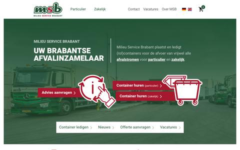 Screenshot of Home Page msb.nu - Uw Brabantse afvalinzamelaar - captured July 26, 2018